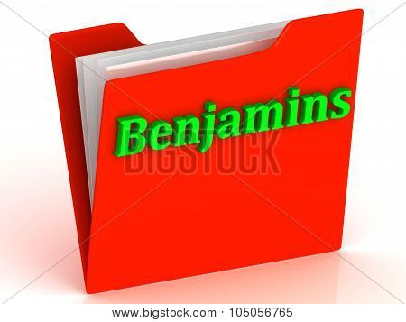 Benjamins- Bright Green Letters On A Gold Folder