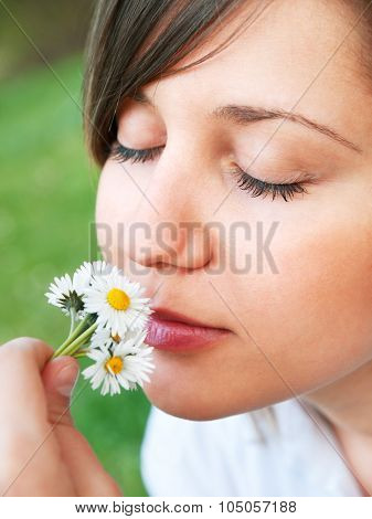 Woman With Camomiles