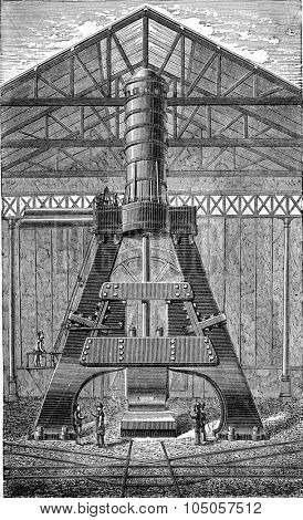 Hammer 100 tons, vintage engraved illustration. Industrial encyclopedia E.-O. Lami - 1875.