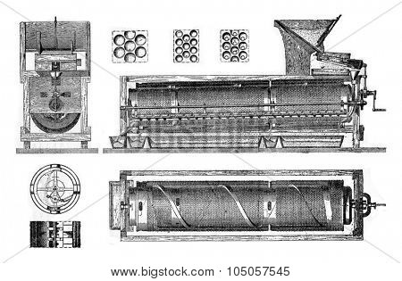 All details and a Marot sorter, vintage engraved illustration. Industrial encyclopedia E.-O. Lami - 1875.