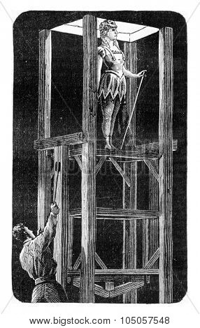 Operation of a hatch, View taken in below the Opera, vintage engraved illustration. Industrial encyclopedia E.-O. Lami - 1875.