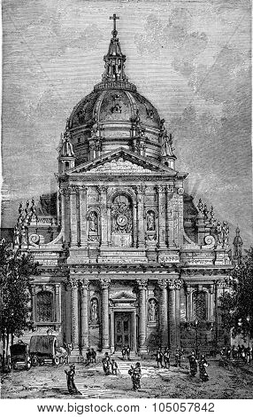 Church of the Sorbonne, vintage engraved illustration. Industrial encyclopedia E.-O. Lami - 1875.
