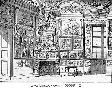 Amateur Cabinet in the seventeenth century, vintage engraved illustration. Industrial encyclopedia E.-O. Lami - 1875.