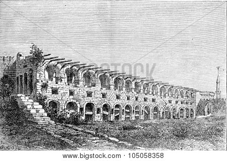 Ruins of the barracks of the Knights of Rhodes, vintage engraved illustration. Industrial encyclopedia E.-O. Lami - 1875.