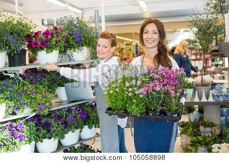 Portrait of mid adult female workers working in flower shop