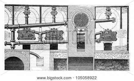 Moving cylinder distillation apparatus used in gunpowder for coal preparation (posterior view with cross section), vintage engraved illustration. Industrial encyclopedia E.-O. Lami - 1875.