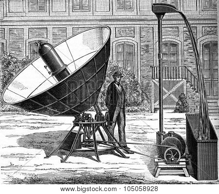 Heat reflection in a vacuum experience Davy, vintage engraved illustration. Industrial encyclopedia E.-O. Lami - 1875.