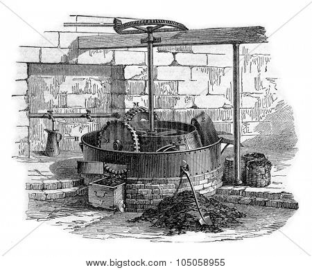 Moulin mixer triple Meules, vintage engraved illustration. Industrial encyclopedia E.-O. Lami - 1875.
