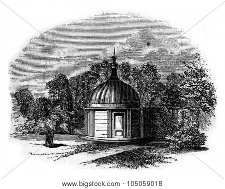 Mr. Bishop's observatory, Regent Park, Memorable by the discovery there of eleven planets, vintage engraved illustration.