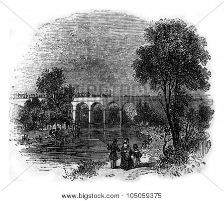 Viaduct, near Watford, london and north western railroad, vintage engraved illustration.