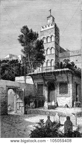 Zaouia Sidi Abderrahman, Algiers patron, vintage engraved illustration. Magasin Pittoresque 1882.