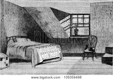 House where Turner died at Chelsea, vintage engraved illustration. Magasin Pittoresque 1882.