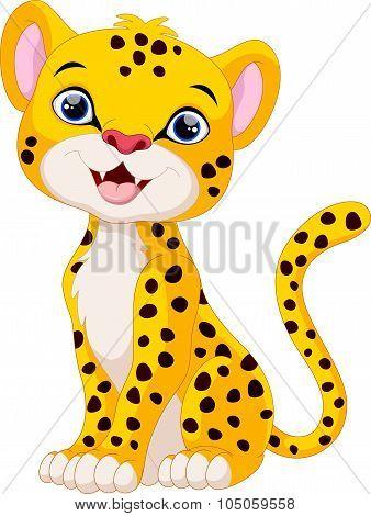 Cute cheetah cartoon sitting