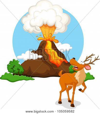 Deer with background volcanoes