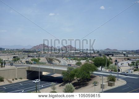 View at Papago Park from Phoenix Airport, AZ