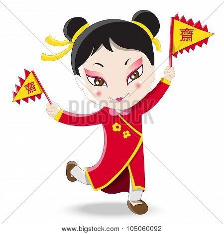 Chinese girl holding vegetarian festival flag