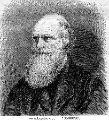 Charles Darwin died in April of 1882 after a photograph, vintage engraved illustration. Magasin Pittoresque 1882.