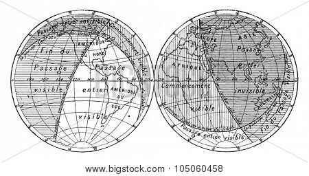 Map of the next transit of Venus, vintage engraved illustration. Magasin Pittoresque (1882).