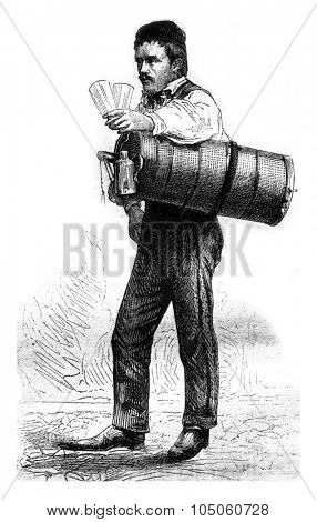 Merchant of fresh water, vintage engraved illustration. Magasin Pittoresque 1878.