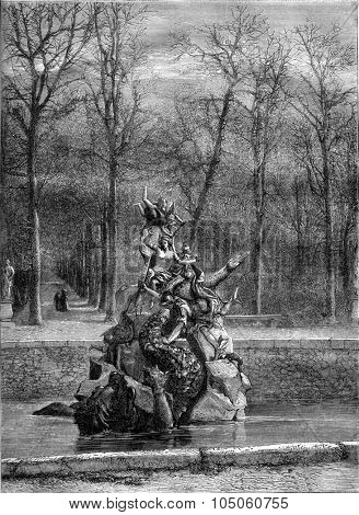 The Andromeda Fountain in La Granja, Spain, vintage engraved illustration. Magasin Pittoresque 1878.