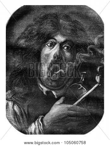 Louvre Museum, A smoker, by Adriaen Brouwer, vintage engraved illustration. Magasin Pittoresque 1878.