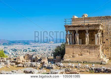 Caryatids, Erechtheum Temple On The Acropolis