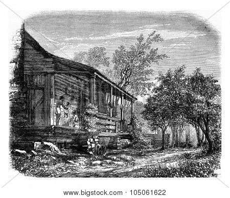 Home of a family of Negroes in the United States, vintage engraved illustration. Magasin Pittoresque 1877.