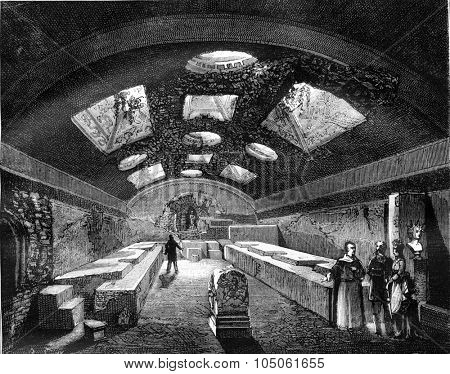 The Underground of St. Clement of Rome, vintage engraved illustration. Magasin Pittoresque 1878.