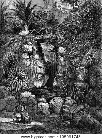 Genes, at Parkway Acqua Sola, vintage engraved illustration. Magasin Pittoresque 1877.