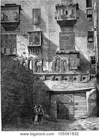 Facade of a house in Cairo, vintage engraved illustration. Magasin Pittoresque 1877.