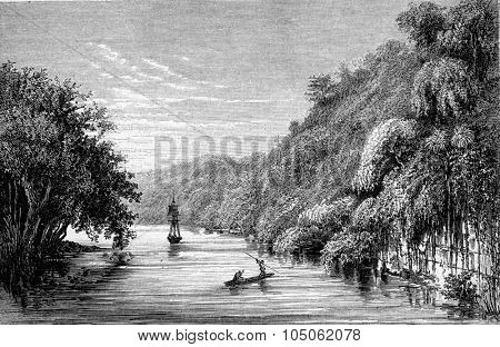 Republic of Guatemala, Dulce River, vintage engraved illustration. Magasin Pittoresque 1867.