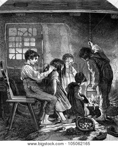 A household of orphans, souvenir des Vosges, vintage engraved illustration. Magasin Pittoresque 1867.