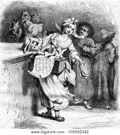 Merchant image, vintage engraved illustration. Magasin Pittoresque 1867.