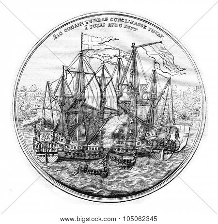 Cabinet of medals, Commemorative Medal (silver) of the Danish naval victories in 1677, vintage engraved illustration. Magasin Pittoresque 1867.