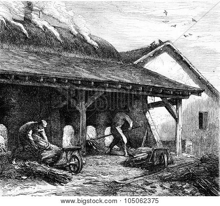 Furnace plaster, vintage engraved illustration. Magasin Pittoresque 1867.