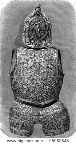 Museum retrospective of 1865, Italian Armor sixteenth century, vintage engraved illustration. Magasin Pittoresque 1867.