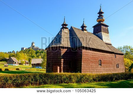Scenic View Of Old Traditional Slovak Wooden Church, Slovakia