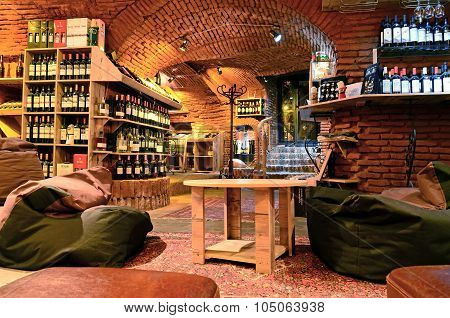 Tbilisi, Georgia - March 5, 2015: Interior Of Wine Cellar Vinoground In Tbilisi, Georgia