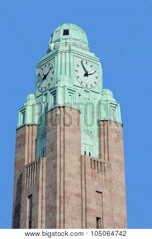 : Clock tower at the Helsinki Central railway station