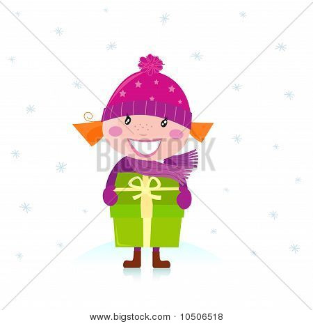Cute Christmas girl with present isolated on white