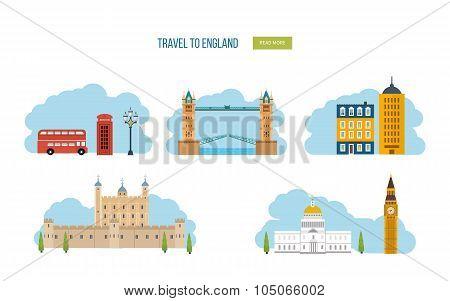 London, United Kingdom flat icons design travel concept. London travel. Historical and modern buildi