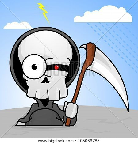 Creepy Cartoon Grim Reaper