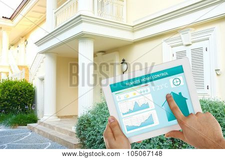 Smart energy controller or remote home control online on tablet-pc