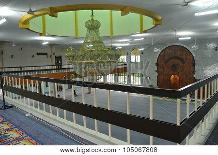 Interior of Kuching Town Mosque a.k.a Masjid Bandaraya Kuching in Sarawak, Malaysia