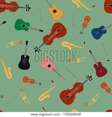 Seamless Pattern Of Music Instrument