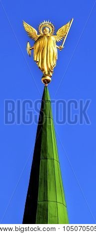 Archangel Michasel Statue Saint Sophia Sofia Cathedral Spires Tower Sofiyskaya Square Kiev Ukraine