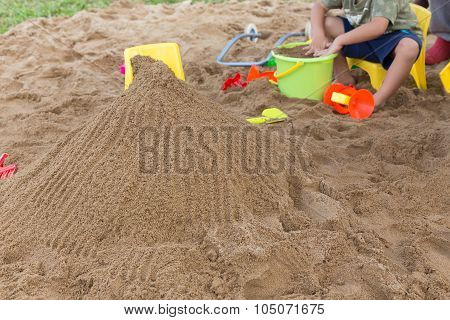 Kid's Toys For Playing Sand Bucket And Shovel In Playground, Enjoy With Activity Of Family