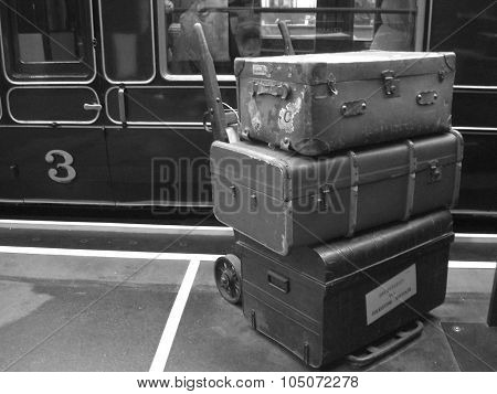 Train And Luggage From 1940s