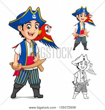 Kid Pirate Holding Wooden Sword with Scarlet Macaw Bird Cartoon Character