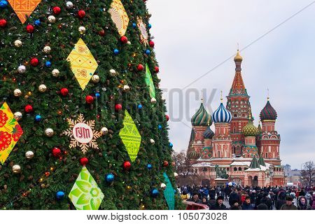 Christmas Tree On Red Square In Moscow